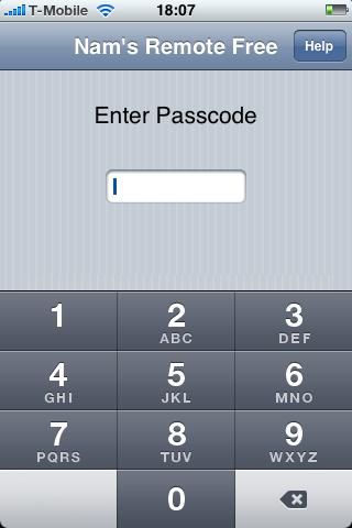 Nams Remote: pincode invoeren.