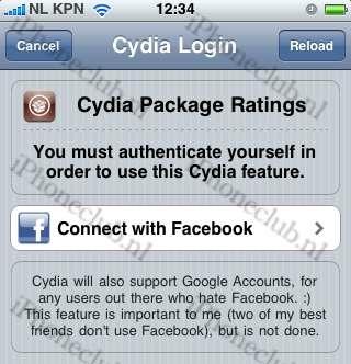 Cydia: beoordelingen achterlaten via Facebook