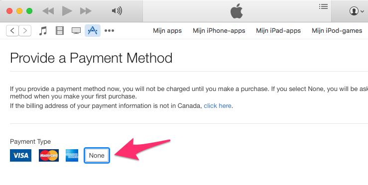 Betaalmethode iTunes