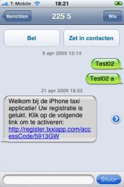 Activatielink wordt per SMS naar de telefoon verstuurd.