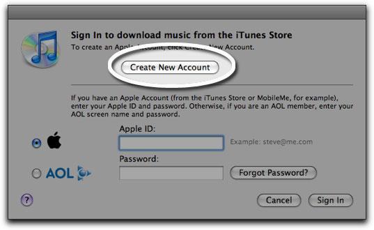 Nieuw account in iTunes.