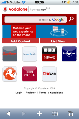 Vodafone iPhone Portal
