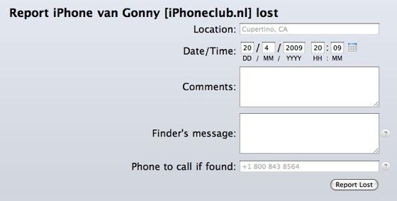 Ben je je iPhone kwijt, dan moet je dit formulier invullen.