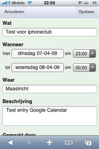 Google Calendar webapp
