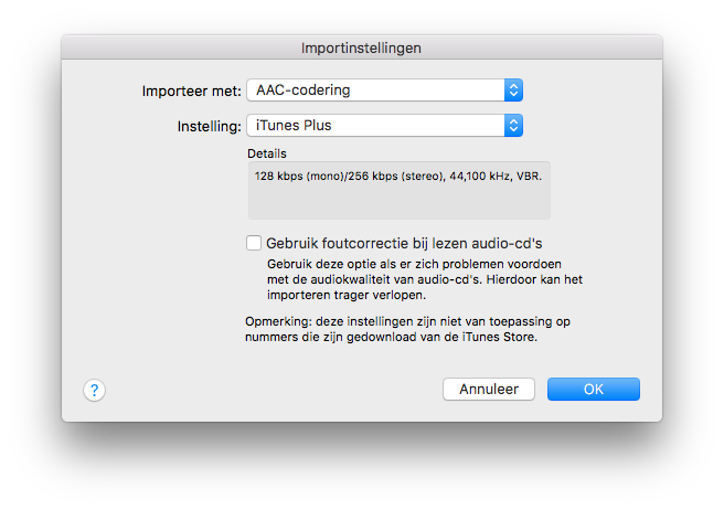iTunes importeerinstellingen.
