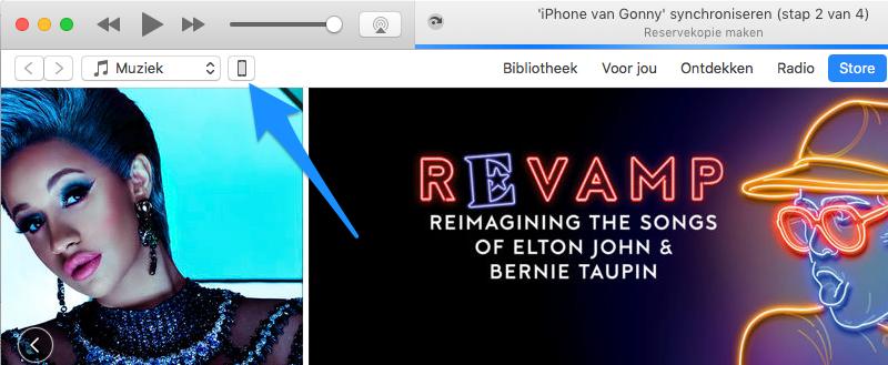iTunes backup toestel kiezen