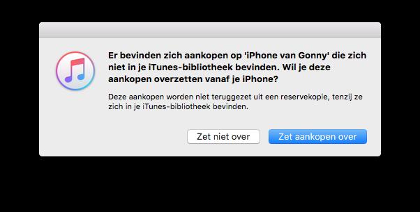 iTunes Backup gekochte onderdelen