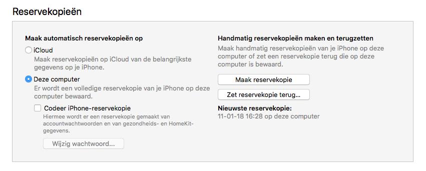 iTunes reservekopie wissen