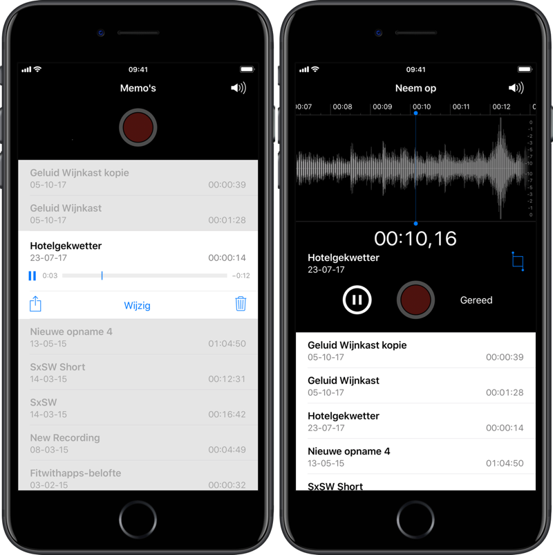 Dictafoon-app: gesproken memo's afspelen