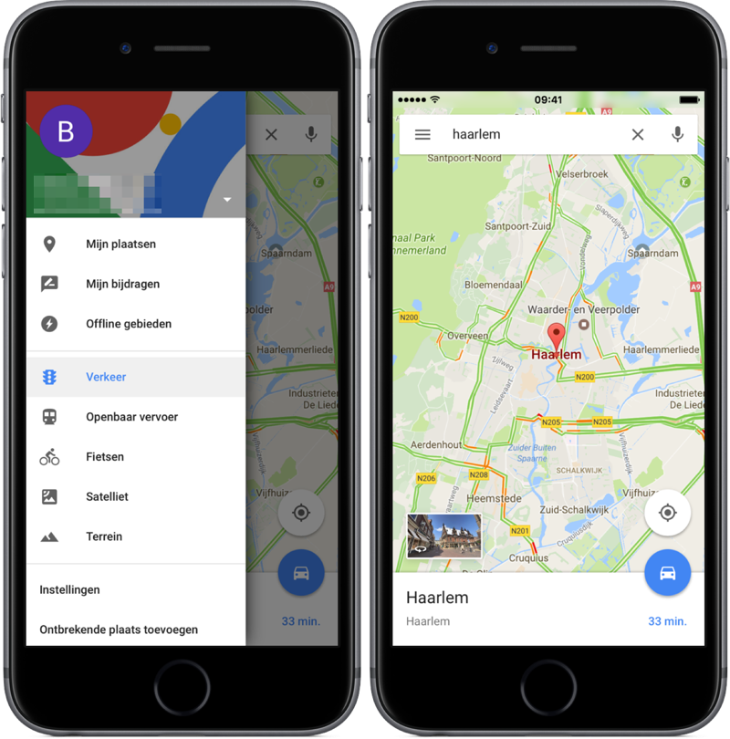 Menu en verkeer in Google Maps.
