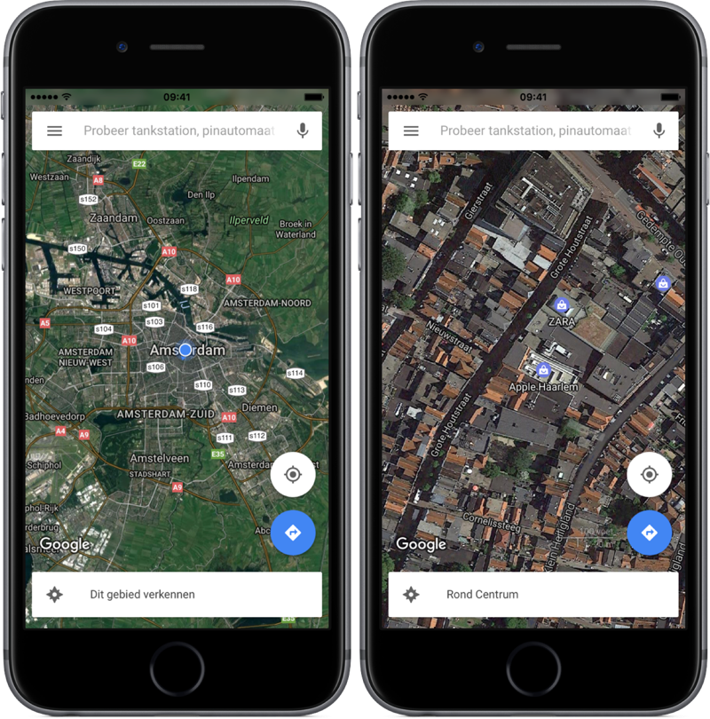 Google Maps met satelliet.