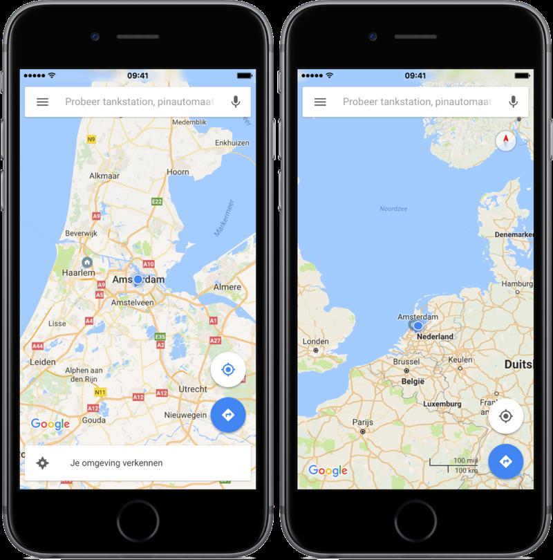 Google Maps met kaarten.