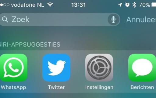 oeken met Spotlight in iOS 9.
