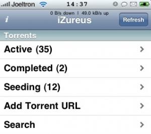 iZureus BitTorent Web UI voor iPhone