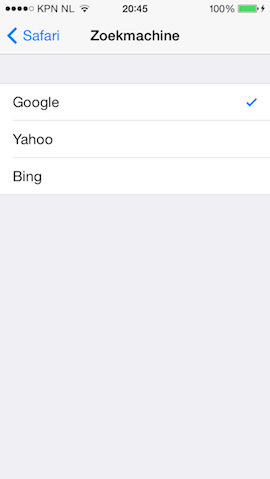 Standaard zoekmachine iPhone wijzigen van Google naar Bing