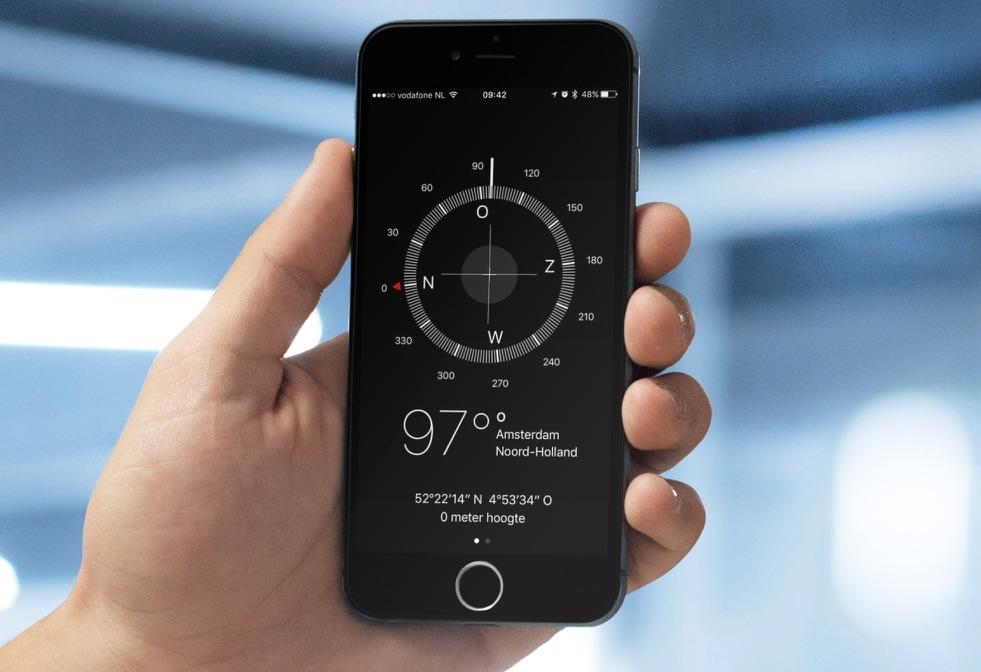 Kompas-app op de iPhone.