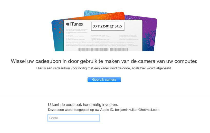 Promocode inwisselen in iTunes.
