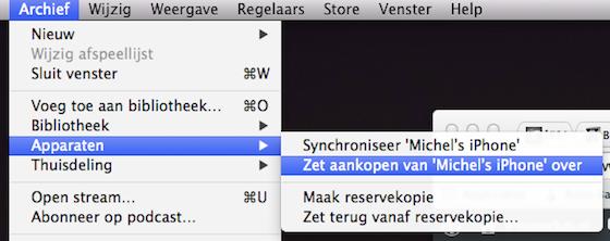 Aankopen overzetten van iPhone naar iTunes