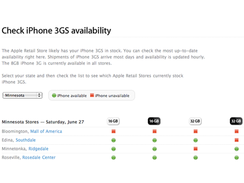 iphone 3gs availability