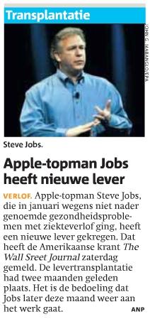Steve Jobs meer dan een levertransplantatie volgens Metro