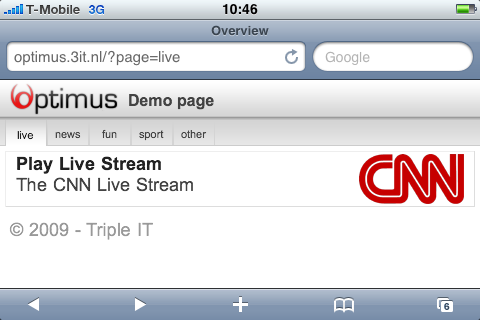 optimus demo page