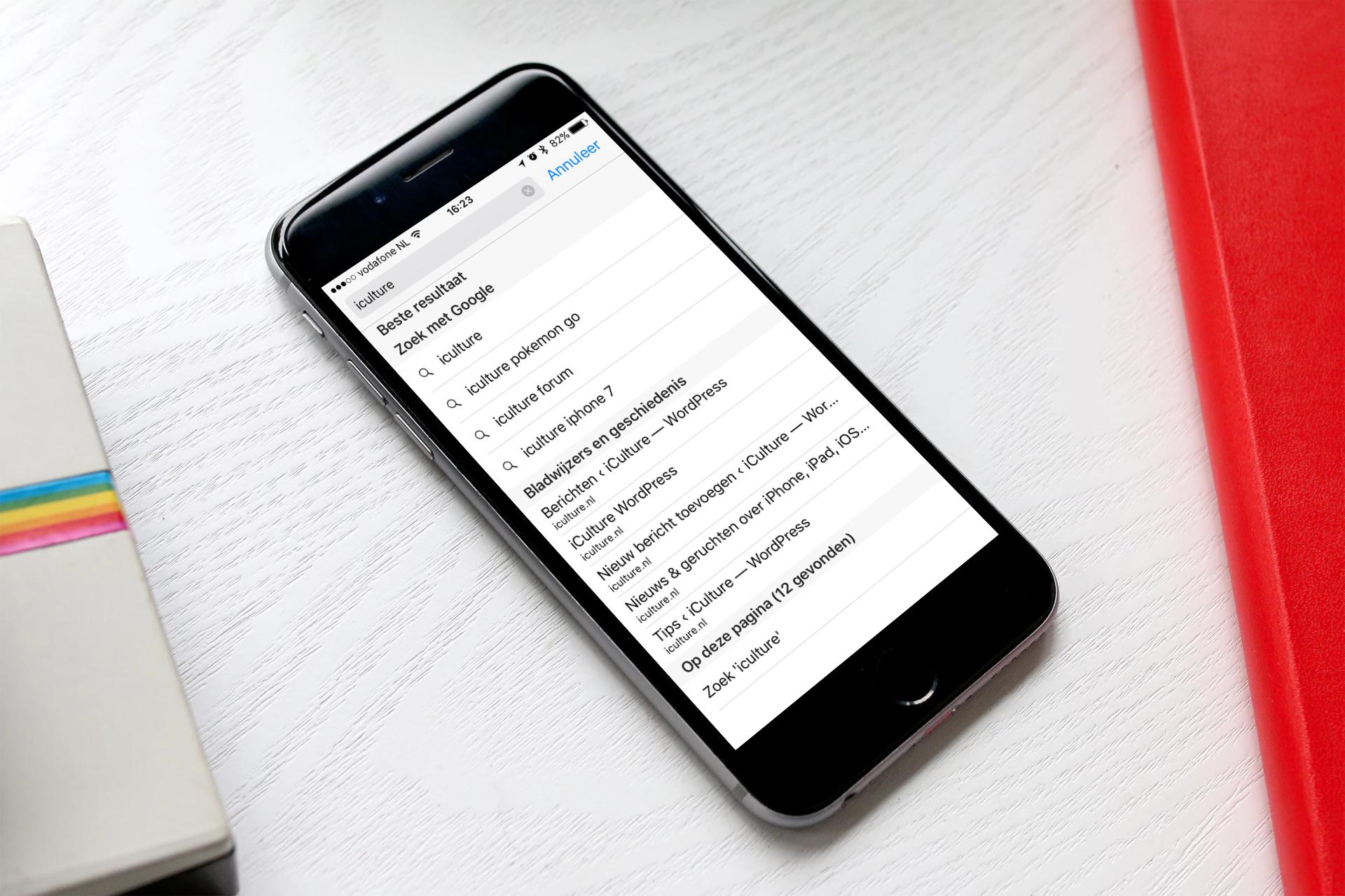 Safari doorzoeken op een iPhone.