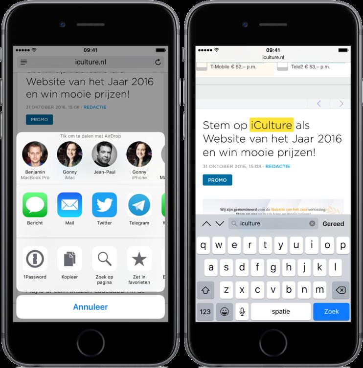 Safari doorzoeken in iOS via deelmenu.
