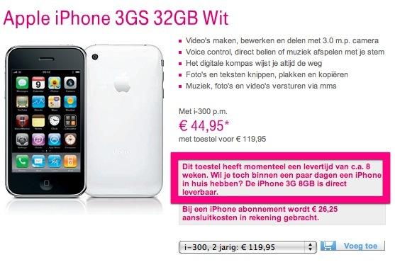 Levertijd iPhone 3GS bij T Mobile nu 8 weken