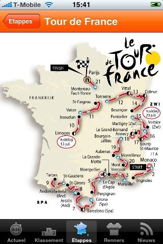 Kaart van de complete Tour de France.