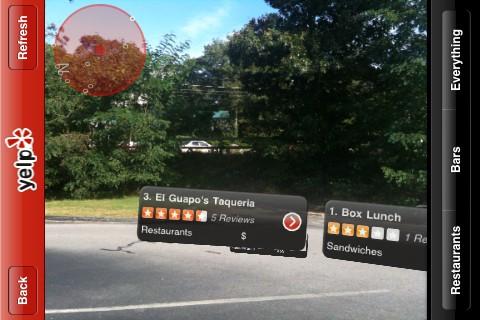 Yelp Augmented Reality verborgen optie Monocle