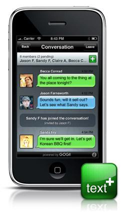textPlus Gogii, gratis SMS-berichten versturen op de iPhone