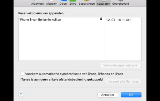 Een iTunes-reservekopie van een iPhone.