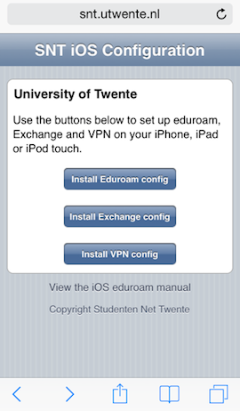 iPhone-configuratie Universiteit Twente