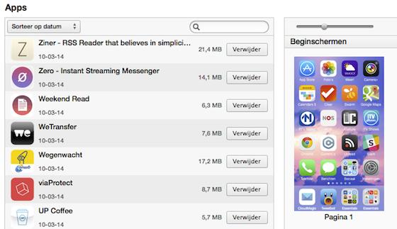 Homescreens beheren in iTunes
