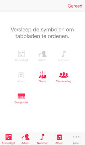 Menu-opties in Muziek-app wijzigen