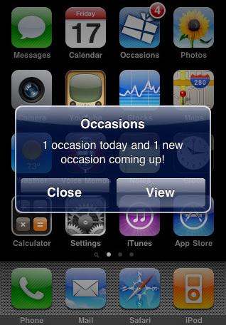 Occasion iPhone app pushbericht