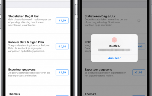 In-app aankopen in DataMan met Touch ID.