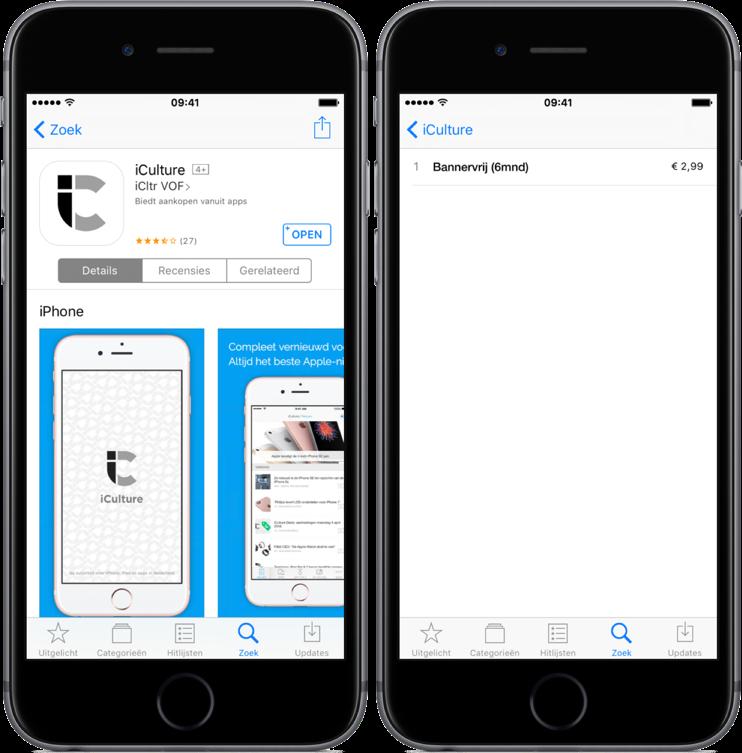 In-app aankopen bekijken in de App Store.