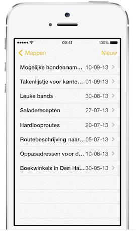 Notities in iOS 7