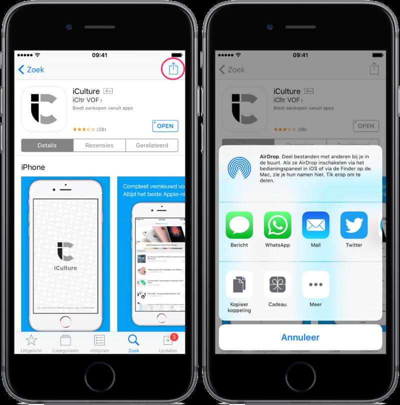 Apps delen via de App Store op iPhone en iPad.