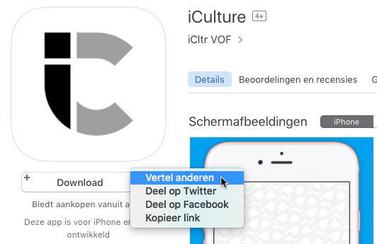 Apps delen en aanbevelen via iTunes.