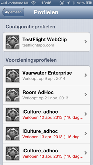 profielen iphone mobile provisioning