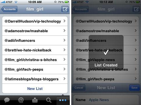 tweetie all lists