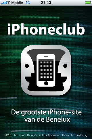 iPhoneclub iPc-applicatie splashscreen