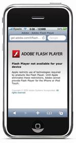 Flash Player foutmelding op de iPhone