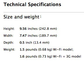 technical specifications ipad