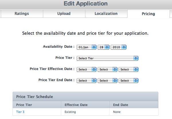 Apple Application Loader - wijzigen van applicatie