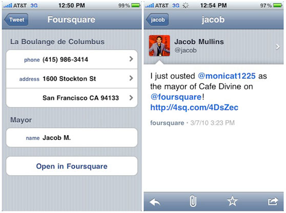 foursquare tweetie