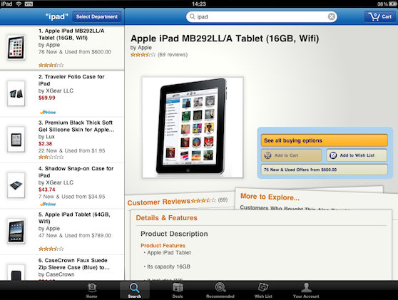 Amazon Mobile voor iPad