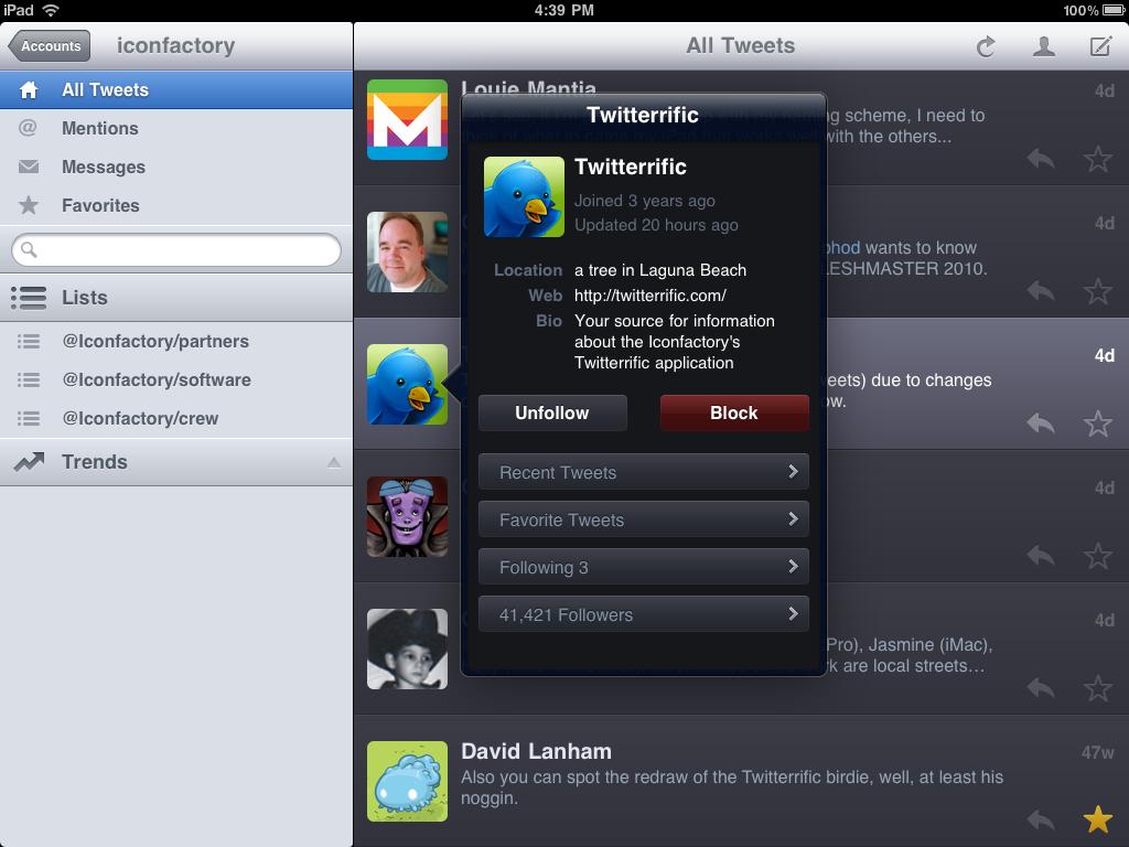 Twitteriffic for iPad